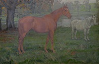 horses in a meadow by joseph denovan adam