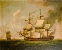 a merchantman in two positions by thomas whitcombe