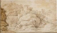 paysage animé à la chaumière; paysage à la cascade by cornelis simonsz van der schalcke
