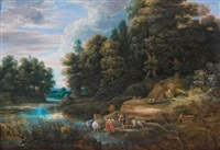 river landscape with a herder and a woman collecting water by frans wouters
