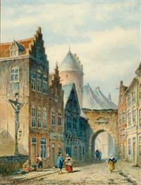 figures in a street of a dutch city by eduard alexander hilverdink