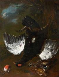 tétras pendu par la patte entouré d'un rouge-gorge et d'un geai by franz werner von tamm