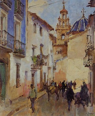 domingo figures and donkeys in a street by terence cuneo