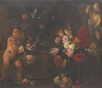 15. continental school, early 19th century 48 x 54 in. neoclassical still life with flowers and putto in front of a potted orange tree, garden sculpture at the right by continental school (19)