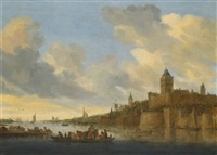 a view of the valkhof at nijmegen seen from the west, with a ferry crossing the river waal by salomon van ruysdael