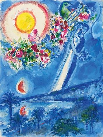 fiancés dans le ciel de nice nice et la côte dazur by marc chagall