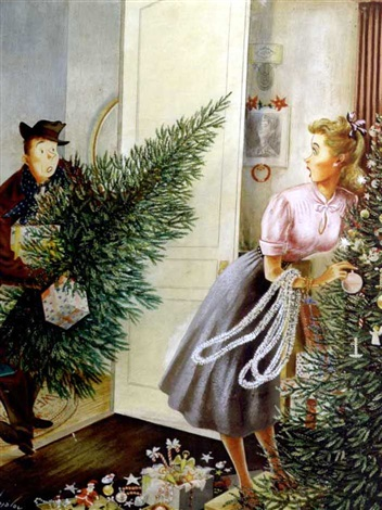 man arrives with christmas tree to discover wife has already bought one by constantin alajalov