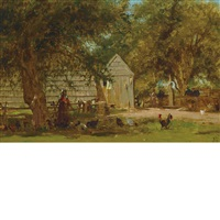 the farm yard, upstate new york by jervis mcentee
