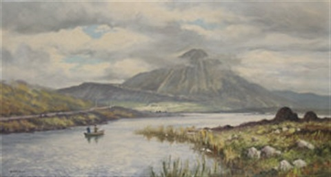 errigal mountain from dunlewey lake co donegal by william h burns