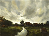 landscape with farms by toon koster