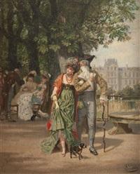 promenade au jardin des tuileries by léon joseph voirin