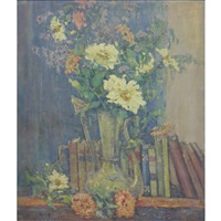 still life of flowers and books on a shelf by clara d. davidson