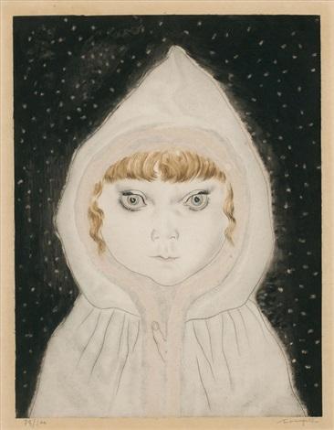petite fille au capuchon sous la neige by léonard tsuguharu foujita