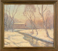 winter landscape with a covered bridge by bela de tirefort