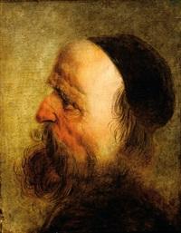 study of a head of an old man on profile by jan van de venne