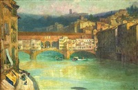 blick über den arno auf die ponte vecchio in florenz by william henry james boot
