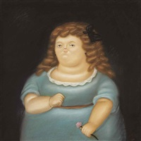 young girl with pink flower by fernando botero