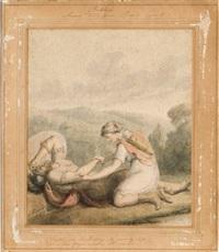 belphoebe gelosa fugge via da timias (+ belphoebe soccorre timias ferito; 2 works) by stephen francis dutilh rigaud
