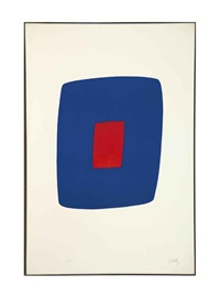 dark blue with red (+ 2 others; 3 works) by ellsworth kelly