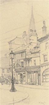 a study for st. martin's church, leicester (+ 3 others; 4 works) by robert sargent austin