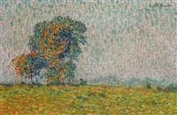 paysage aux grands arbres by emile ancelet