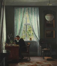 interior with the artist's father, pharmacist eggert christopher achen sitting by his desk by georg nicolaj achen