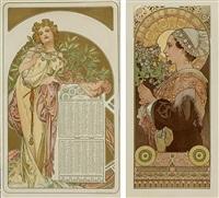 almanach 1902 (+ panicaut maritime; set of 2) by alphonse mucha