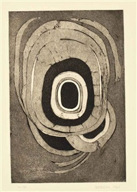 etching one; seventh stone (2 works) by lee bontecou