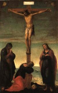 christ en croix avec la vierge, st jean l'evangéliste et ste marie madeleine by francesco granacci