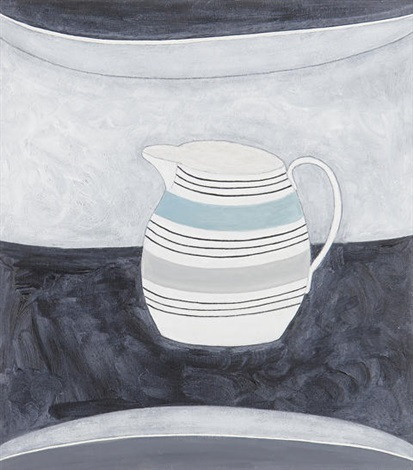jug with blue stripe by rachel nicholson