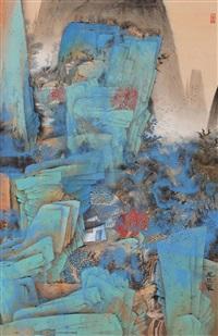 溪山清韵图 (mountain scenery) by qi enjin