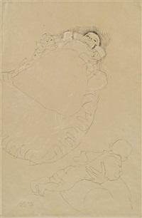 baby im steckkissen (hand, die ein baby hält, oberschenkel der frau) by gustav klimt