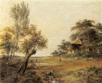 landschaft mit schlafendem hirten und schafen by jean baptist joseph bastine