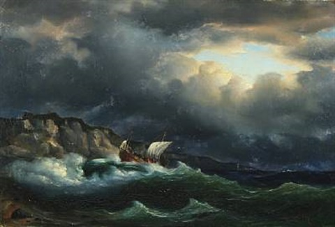 coastal scenery with a sailboat in stormy sea by fritz siegfried george melbye