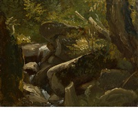 forest interior and lake landscape study (double-sided work) by thomas cole