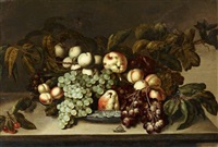nature morte aux fruits dans une coupe de porcelaine by bartholomeus assteyn