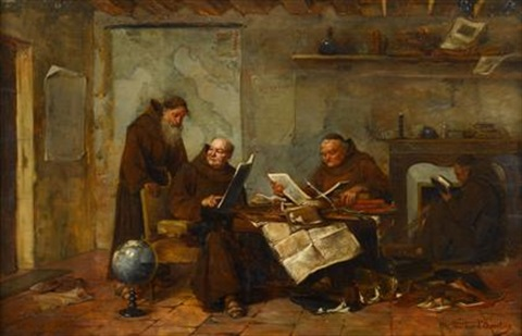 monks in a study by henry jlw d acosta