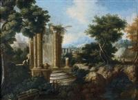 paysages de ruines antiques animés de personnages (pair) by hendrick frans van lint