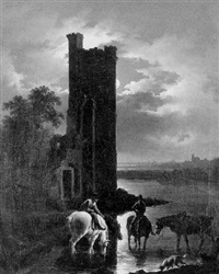 riders with horses at a river by a ruined tower in moonlight by charles towne the younger