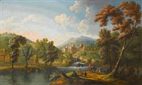 a river landscape with figures resting beside a waterfall by mathys balen