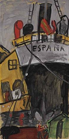 puerto popa del barco españa by joaquín torres garcía