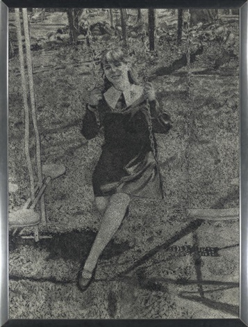 woman on swing by richard artschwager
