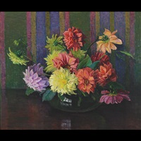 still life, bowl of dahlias by harriet randall lumis