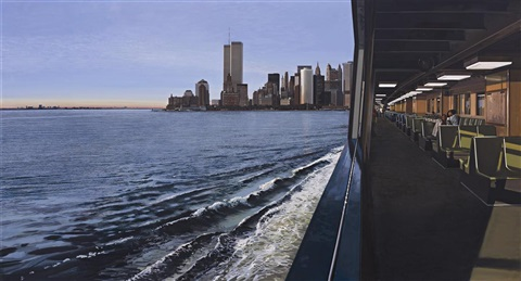 on the staten island ferry looking toward manhattan lembarquement pour cythere by richard estes