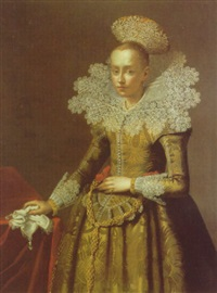 portrait of a lady in a green dress with a white lace collar and elaborate headdress by jakob wabbe