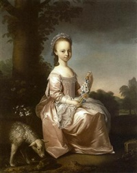 portrait of margaret smith, of cotescue, in a pink dress with white lace apron, holding flowers, with a sheep by henry pickering