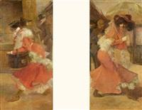 femme à l'ombrelle (+ la modiste; pair) by louis picard