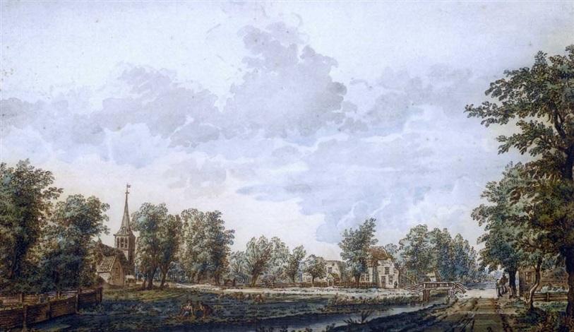 vue du village de schalkwij dans la province dutrecht by jacob van liender