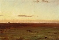 view of meadow and dunes in the evening sun by michael peter ancher