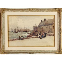 harbour scene with figures by robert weir allan